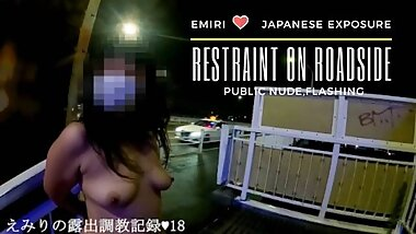 Emiri Shopping only wearing T-shirts & gas station. Naked exposure challenge beside the road.