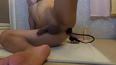 Sloppy sissy playing with butt plug, pomp plug, fleshlight, hot cum load