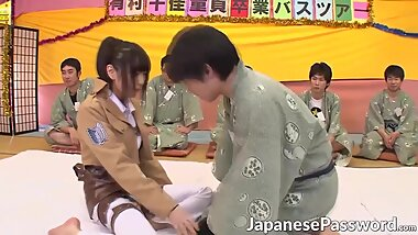 Horny japanese chick gets gangbanged by lots of asian dudes