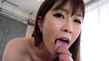 Japanese brunette, Kotone Amamiya fucks in a hotel room, unc