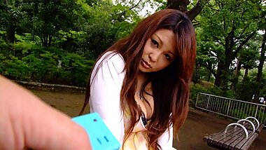 Japanese brunette with big tits, Airi Ai is masturbating, un
