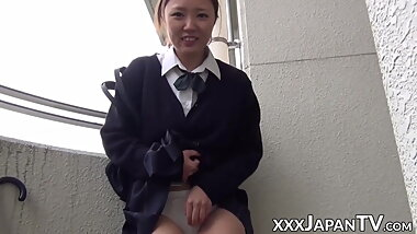 Japanese schoolgirl strips in public to put toy on her clit